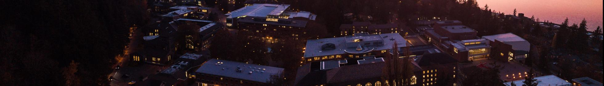 Western Washington University campus, overhead view at sunset